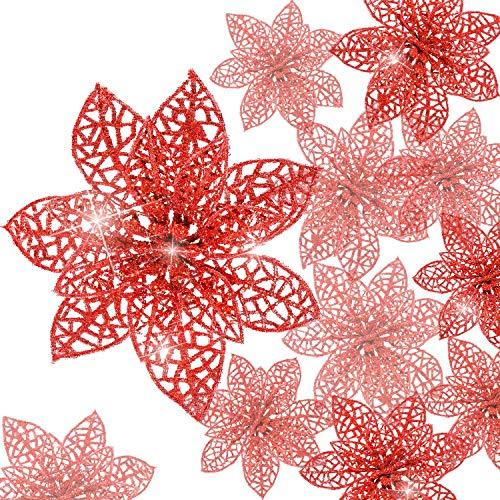 24 Piezas de Poinsettia Brillante Adorno de Árbol de Navidad Flores Navideñas (Rojo)