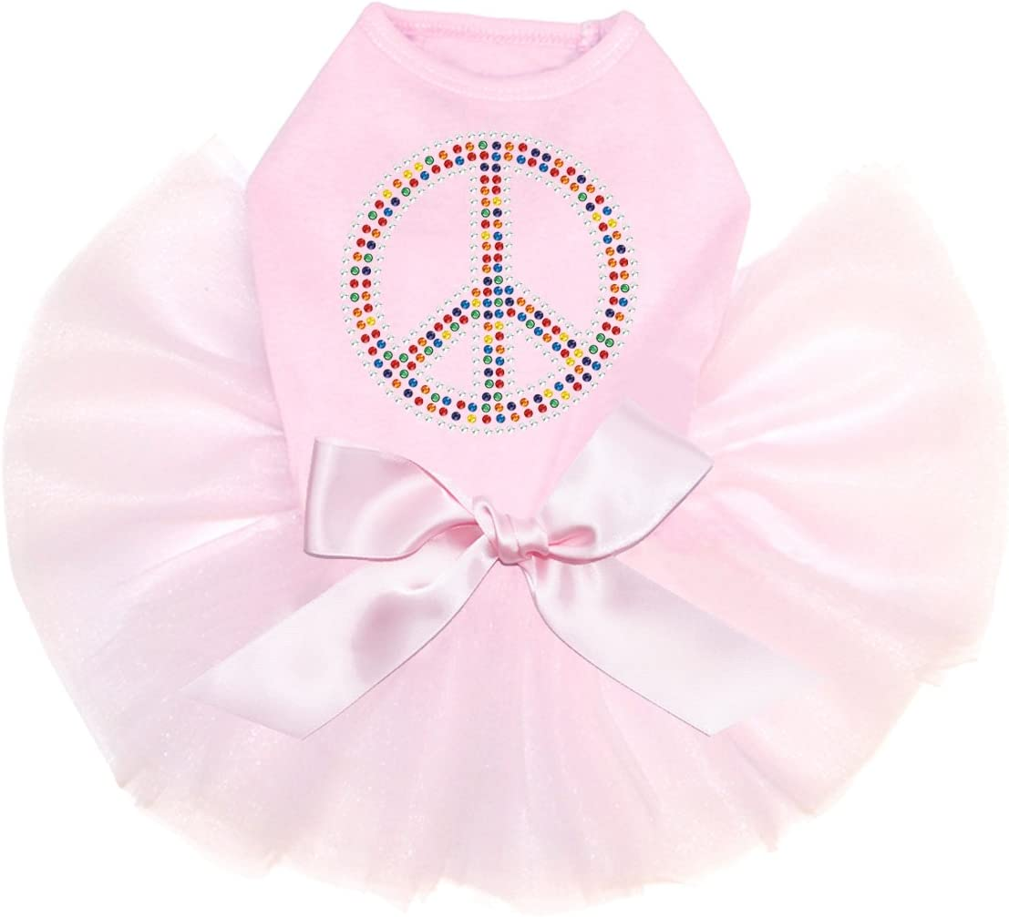 Peace Sign Multicolor - Bling Rhinestone Tutu Dog Pink Max 81% OFF S unisex Dress