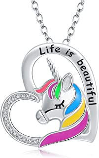 Rainbow Unicorn Necklace Sterling-Silver - Life is Beautiful/Colorful Unicorn Heart Pendant Necklace for girls Women Girlf...