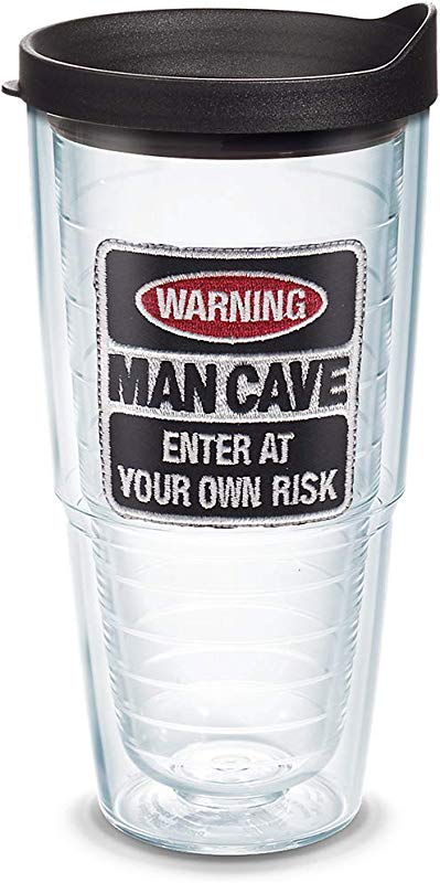 Tervis 1095301 Man Cave Tumbler With Emblem And Black Lid 24oz Clear