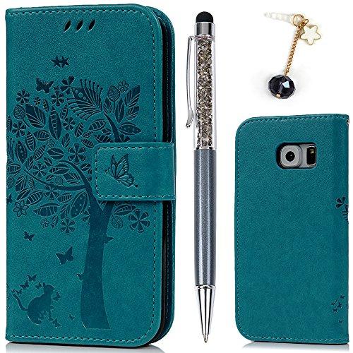 Cover per Samsung Galaxy S6, Flip Custodia Libro Pelle PU e TPU Silicone con Funzione Supporto Chiusura Magnetica Portafoglio Libretto Bumper Case per Samsung Galaxy S6, Albero Blu