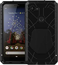Feitenn Google Pixel 3A XL Case, Pixel 3A XL Case Heavy Duty, Gorilla Glass Waterproof Armor Aluminum Alloy Metal Cover Bumper Military Shockproof Hard Defender Men Gift for Google Pixel 3A XL - Black