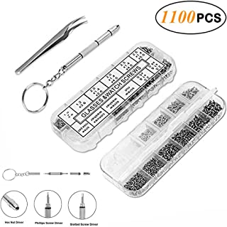 Eyeglasses Repair Tool Kit, Electop 1100Pcs Tiny Screws Nuts Washer Nose Pads Stainless Steel Micro Tweezer Screwdriver for Sunglasses Spectacles