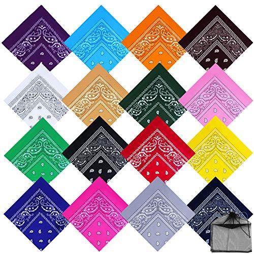 4 Pieces Paisley Bandana Cotton Cowboy Bandana Unisex Print Headwraps Wristband for Women Men Festival Daily Wearing