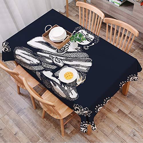 GOUGU Nappe Rectangulaire Nappe Coton et Lin,Paisley Mandala Decor, Design Vintage Vintage Tribal Chakra Aura Harmony,LavableModerne pour Décoration de Table de Cuisine (140 x 200 cm)
