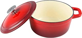 Zelancio Cookware 3-Quart Enameled Cast Iron Dutch Oven Cooking Dish with Lid, Cayenne Red