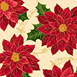 Christmas Sounds of the Season Poinsettia Cream Fabric Sold by the Yard