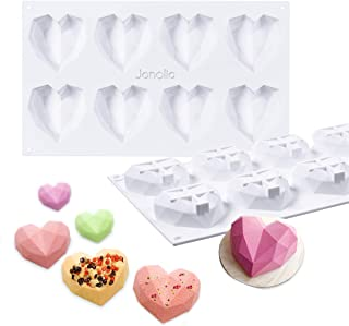 Janolia Molde de chocolate, Molde de Caramelo en Forma de Corazón, 8 Rejillas de Silicona 3D de Diamante, para Decoración de Tartas, hornear, Hacer Dulces, Chocolate, Magdalenas, Incluso DIY Vela