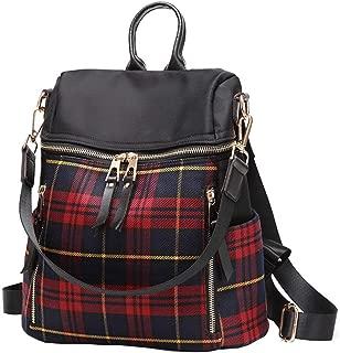 Solyinne Women Backpack Handbag Plaid Waterproof Oxford Fabric Zipper Fashion Purse Shoulder Bag