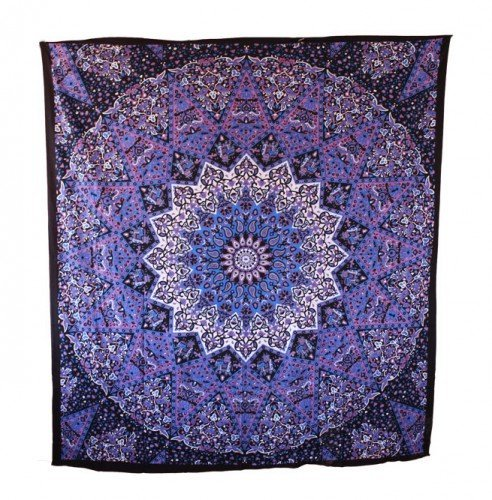 Popular Handicrafts Hippie Mandala Tapestry Blue Purple Tapestry Wall Hanging Large Table Runner Bed Cover Indian Art Cotton Bohemian Hippie Tapestry Bedsheet Wall Hanging