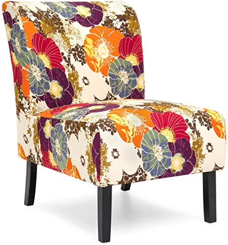 Best Best Choice Products Modern Contemporary Upholstered Armless Accent Chair - Floral/Multicolor