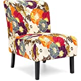 Best Choice Products Polyester Upholstered Modern Armless Accent Chair, Floral Print