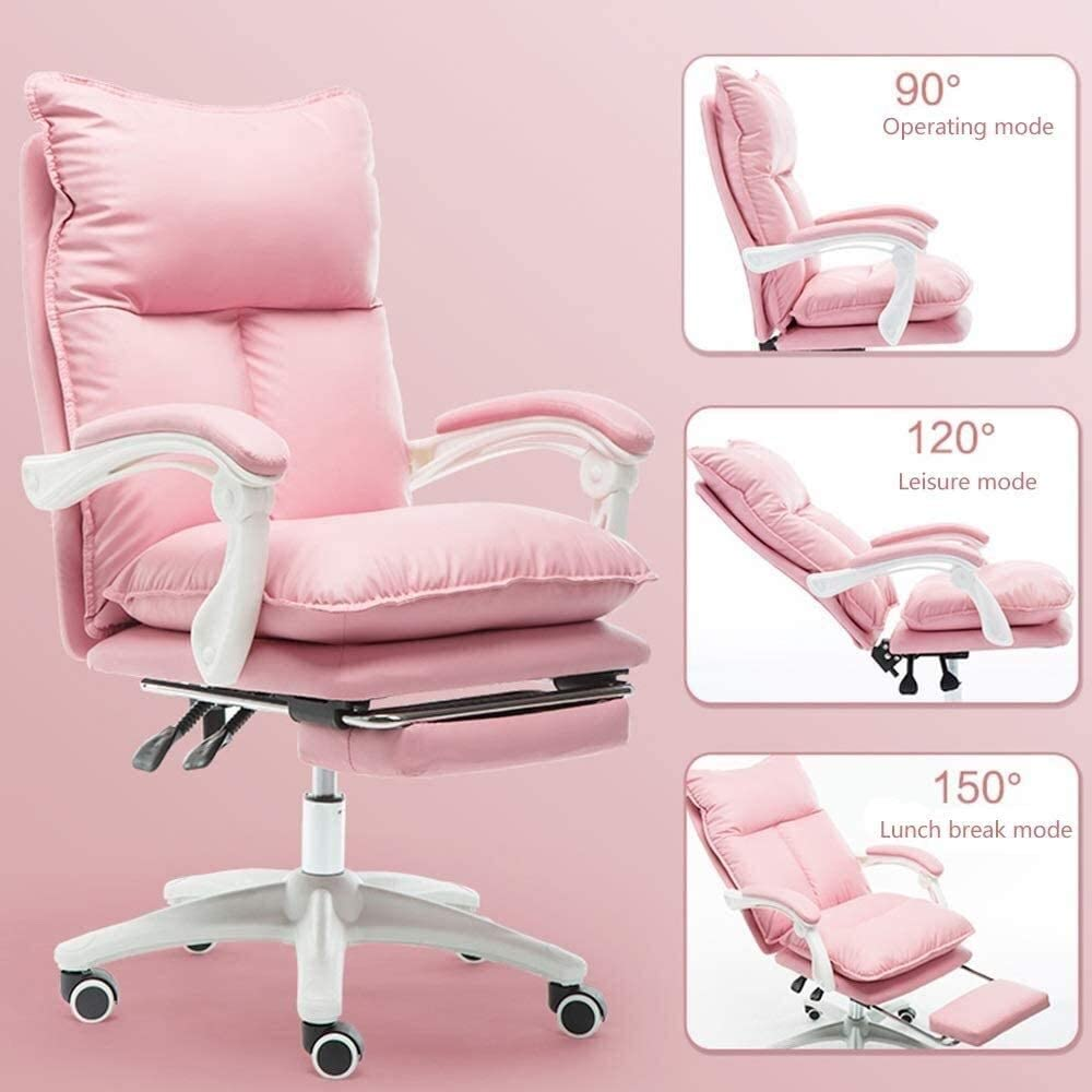 chaise FHW Ordinateur Haute Retour PU Bureau de Jeu en Cuir Double Coussin de Grande Taille E-Sport Ergonomique à Hauteur réglable de Bureau Ordinateur (Color : Pink) White