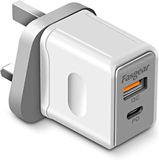 Fasgear USB Plug Charger QC3.0 & PD Wall Charger, 18W 2-Port Mains Chargers Plug Power Adapters for iPhone 11 Pro XR XS Ma...