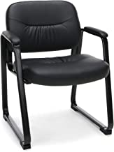 Essentials Leather Executive Side Chair - Guest/Reception Chair with Sled Base, Black