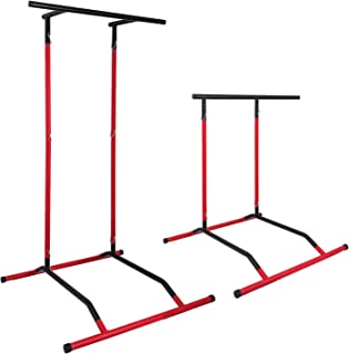 Popsport 330LBS Pull Up Dip Station Power Tower Station Multi-Station Power Tower Workout Pull Up Station with Carry Bag for Home Fitness (Black&Red)