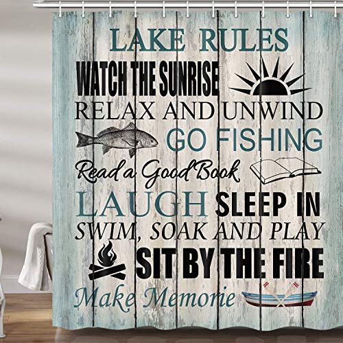 Lake Life RV Shower Curtains for Bathroom, Rustic Camper Fabric Shower Curtain Set, Nautical Cabin Camp Bathroom Accessories Lake House Decor for The Home, Hooks Included (69W X 72H)