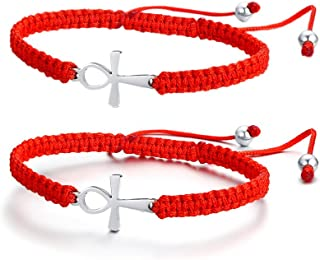 Handmade Red String Bracelet Stainless Steel Cross Charm,Protection Amulet Lucky Red String Kabbalah Bracelet