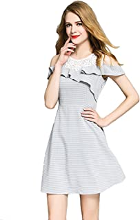 Women's Cold Shoulder Falbala Plaid Dress Lace Hollow-out A-line Mini Dress