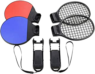 Skywin Ping Pong Paddle and Tennis Racket Set for N-Switch JoyCons - Controller Holder Compatible with Nintendo Switch Joy...