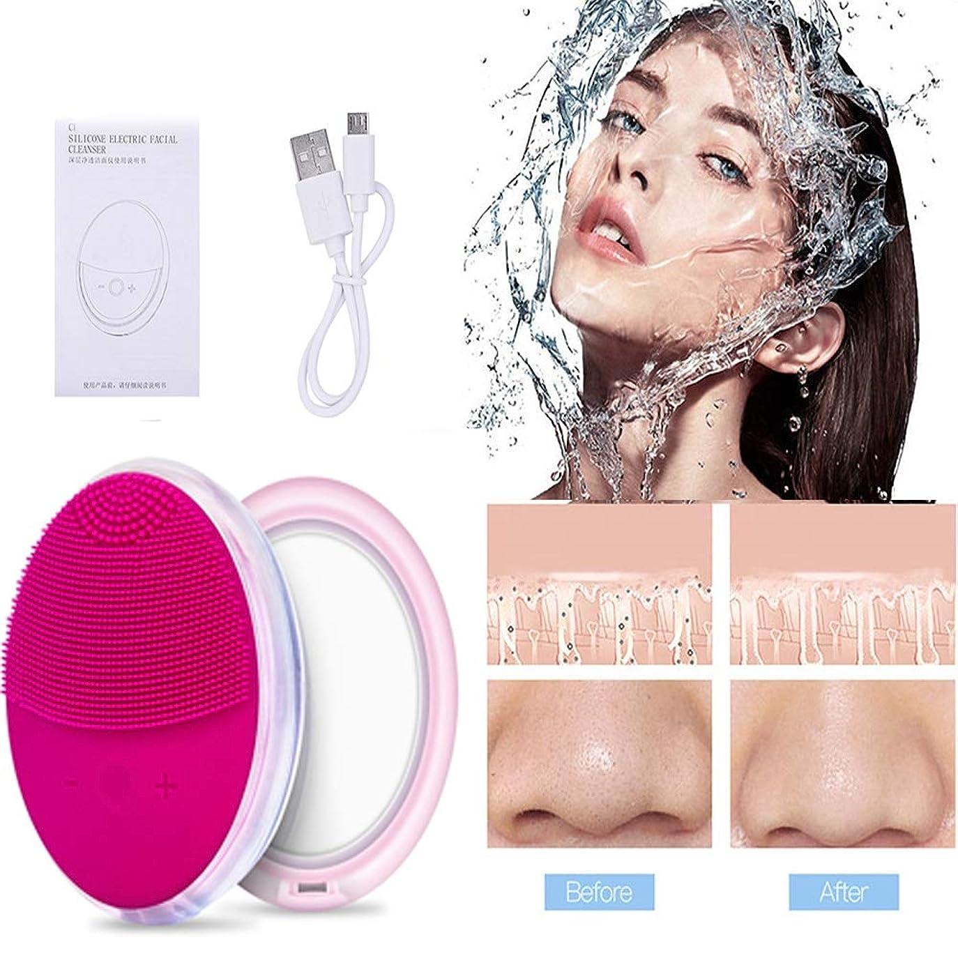 電動洗顔ブラシ ボディブラシ ミラーおよび7色ライト付きの創造的な設計 洗顔ブラシ毛穴ケア フェイスブラシ 洗顔器 IPX7防水 レベル シリコン製 USB充電式 多機能洗顔器 携帯便利