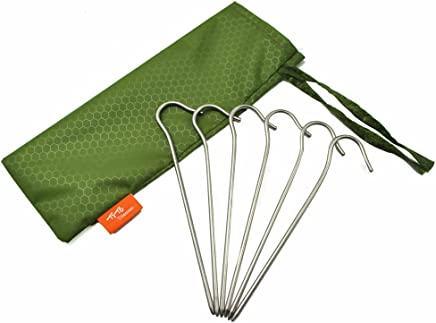 TITO Titanium Shepherd's Hook Tent Stakes Tent pegs Tent Stakes Dia 3.5mm and Length 165mm About 8.2G.(6-Pack) (Silver)