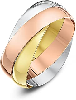 (F, 4 Millimetres, Yellow, White and Rose) - Theia Unisex 9 ct Rose, White and Yellow Highly Polished Gold Russian Wedding Ring