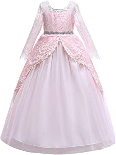 IBTOM CASTLE Girls Long Sleeve Royal Palace Lace Dance Princess Gothic Victorian Gowns Fancy Masquerade Dress Up for Party Wedding Pageant