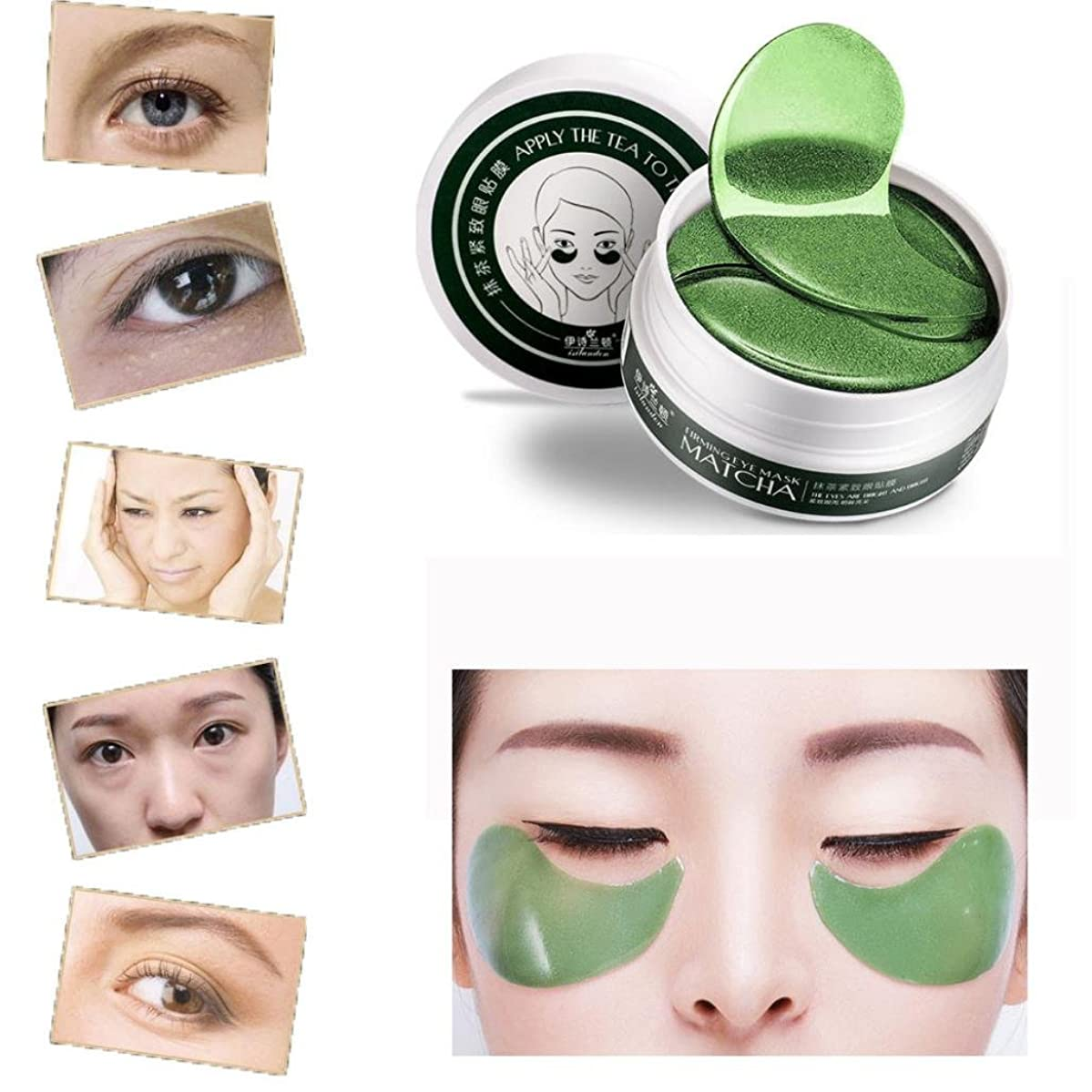 Coerni Professional 60 Pcs Luxury Crystal Matcha Gel Collagen Eye Patch - Powerful Remove Dark Circle and Puffiness, Anti-aging Anti-Wrinkle