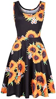 FSSE Women Summer Sleeveless Sundress Round Neck Print Swing Mini Dress
