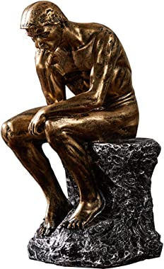 """NBHUZEHUA 10"""" Resin The Thinker Statue Famous Thinking Man Sculptures Home Decor Art Crafts Gifts Golden"""