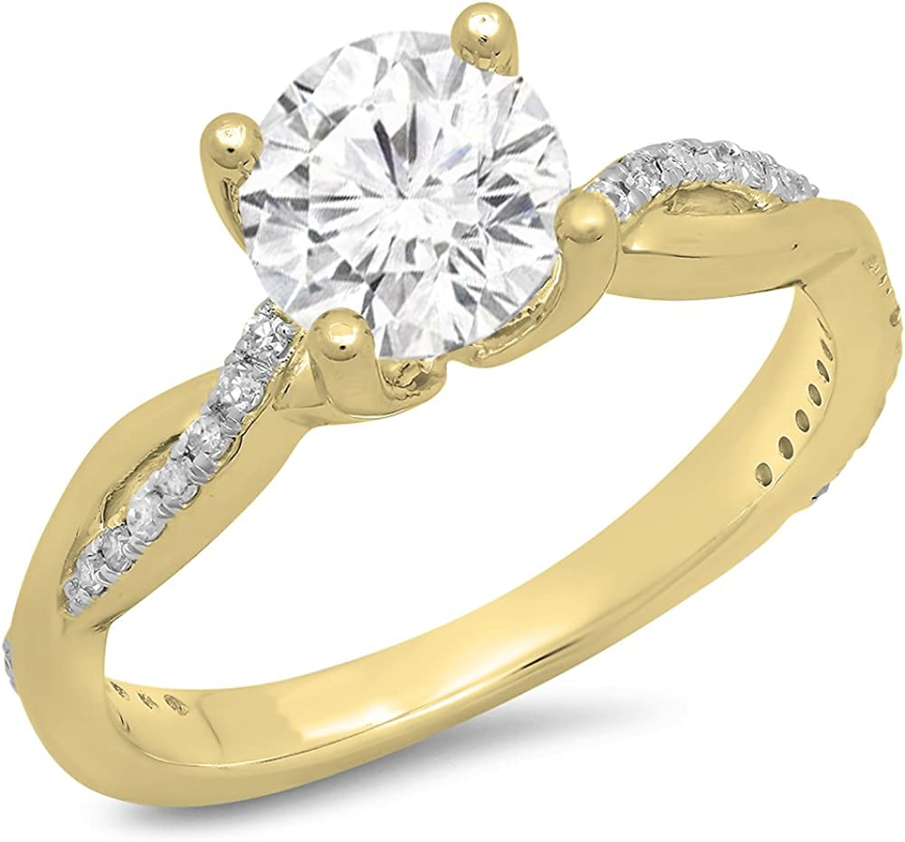 Dazzlingrock Collection 14K Gold Round Moissanite & White Diamond Ladies Solitaire with Accents Bridal Engagement Ring