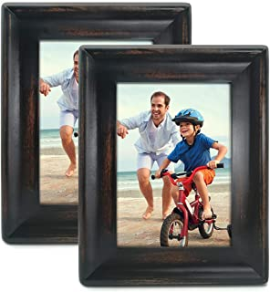 icheesday 5x7 Inch Picture Frame Black (2-Pack) - Made of Solid Wood and Real Glass - Displays 7 by 5 inch Photos - Vertical Horizontal Wall Hanging or Tabletop Standing