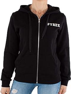 Pyrex Felpa Donna Nero con Zip e Cappuccio e Maxi Stampa con Logo