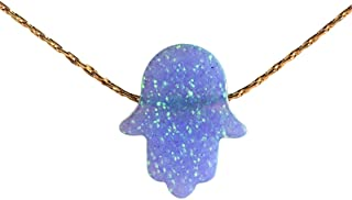 Opal Necklace Blue Hamsa Hand Charm 14k Gold Filled Handmade jewelry 16+ 2 inches extension