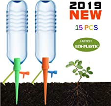 WJS 【Premium Plastic】 Plant Self Watering Spikes Device 15PCS Plant Waterer Drip Irrigation System with Valve and Bracket Works as Watering Bulbs Globes Stakes for Potted Flower Vegetable Garden Lawn