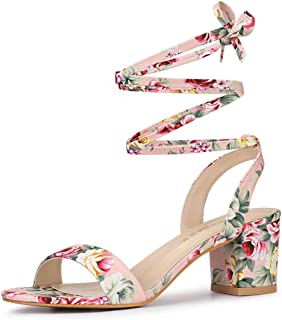 Allegra K Women's Opened Toe Chunky Mid Heeled Lace Up Sandals