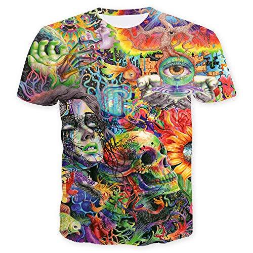 Maglietta Estiva Manica Corta da Uomo 2019 Maglietta con Stampa Teschio Verniciato 3D T-Shirt di Moda Street O-Neck Manica Corta, Piccola
