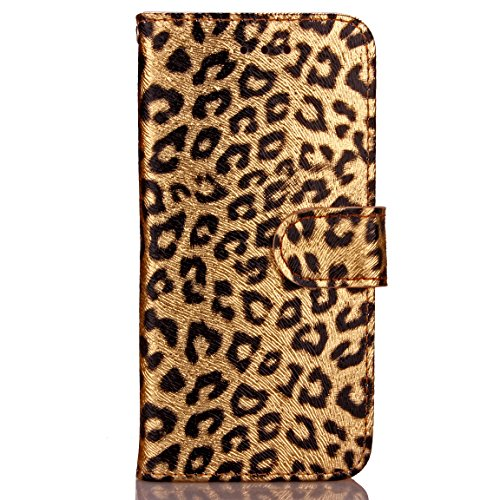 iPhone 6 6s Phone case with Leopard Print Card Frame + Color TPU Lanyard Stand Bracket case Back Cover for iPhone 6 6s (Gold)