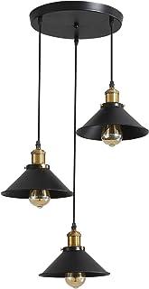 3 lámparas de techo retro industrial, diseño Edison de metal, lámpara colgante con soporte de placa circular, diámetro 22 cm, color negro