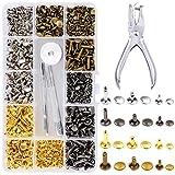 Rivetti in Pelle,360 Set 6mm/8mm/12mm Doppio Testa Borchie Metalliche Bottoni a Rivetto per Cuoio per Cintura Borse Pelle(4 Colori)