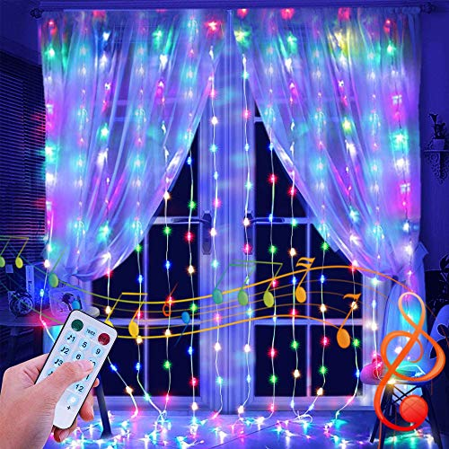 ANNA TOSANI Luces de Cortina LED, Multicolor Cortinas de Luces Navidad Decoración 300 LED USB Luces de Hada 3x3m 8 Luz Modos Y 4 Modos de Control por Música Perfecto Para Fiestas Ventanas,Balcón,Partido,Día de San Valentín,Navidad,Bodas