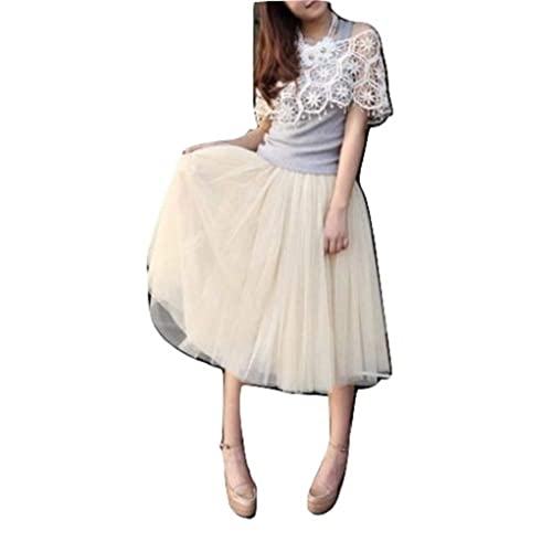 4c3eac451 L&L® Women Girls 5 Layers Tutu Petticoat Long Skirt Rockabilly Tulle Goth  Ballet Skirt