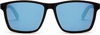 TAKE A SHOT - – Gafas de sol cuadradas grandes, para hombres: patilla de madera y montura de plástico, protección UV400, lentes antirreflejos