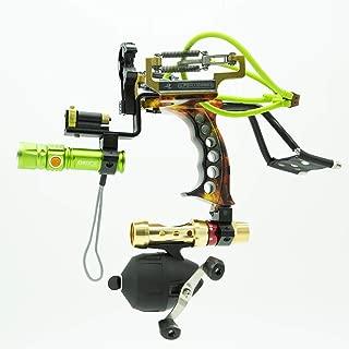 HBG Powerful Fishing Slingshot Kit, Arrows and Ammo 2 in 1 Shooting Slingshot, Archery Professional Adjustable Fishing Set with Arrow Brush,Fishing Reel,Fishing Reel Rack,Flashlight,4Pcs Rubber Bands