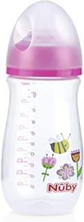 Nuby Soft-Flex Silicone Medium Flow Nipple Bottle Wide Neck 270 ml, Pink_1011198