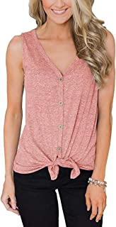 EasySmile Womens Button Down Tank Tops Tie Knot Shirts Loose Fitting V Neck Casual Tunics Blouses S-XXL