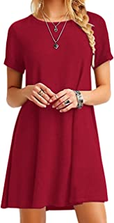 OMZIN Vestido de Mujer Vestido de Manga Corta Cuello Redondo Suelta Casual Summer T-Shirt Blusa Suelta Vestidos XXS-5XL