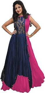 RUDRA ZONE Women's Tassar Silk Gown (Pink, Free Size)