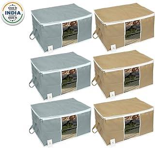Homestrap Big Underbed Storage Bag/Storage Organiser/Grey & Beige (Pack of 6)